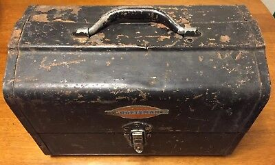 Vintage Metal Craftsman Domed Tool Box With Tray 1940's 50's Tools Chest Antiq