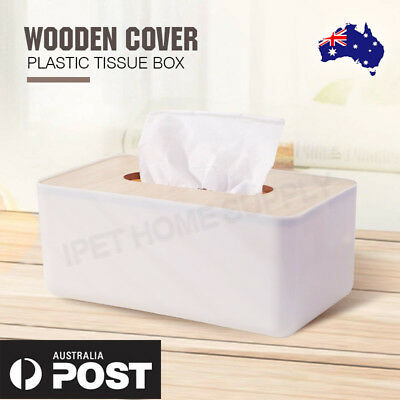 Tissue Box Wooden Cover Plastic Paper Home Holder Dispenser Organizer Decor