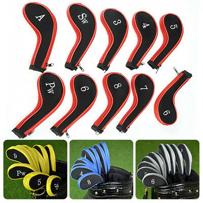 High Quality 10pcs Padded Golf Club Iron Head Covers Protector Case Sock Set UK