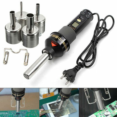 200W 1100V LCD Display Electronic Hot Air Heat Gun Soldering Station + 4Nozzles