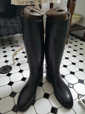 Vintage French Leather Riding Boots Including Wooden Lasts