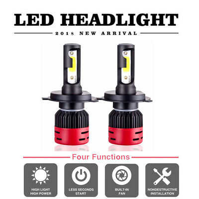 Pair CREE COB H4 HB2 9003 72W 8000LM LED Headlights Kit Hi/Lo Power Bulbs 4300K