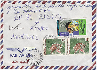 W8015 Ivory Coast commercial air cover to UK, 1995 - 280F rate.