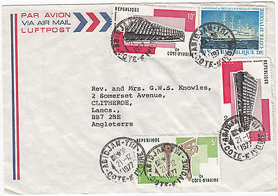 W8019 Ivory Coast air cover to UK, 1977 - 90F rate, 4 stamps.