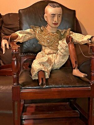 """Antique 29"""" Tall Folk Art Hand Carved Wood Articulated Doll/puppet 29"""" Tall"""