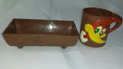 1960's Woody Woodpecker Cup & Cereal Log Bowl by F&F Mold Company  Dayton, Ohio