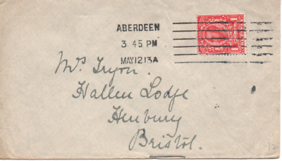 1913 Cover From Aberdeen With Early Columbia Machine Strike Posted To Bristol