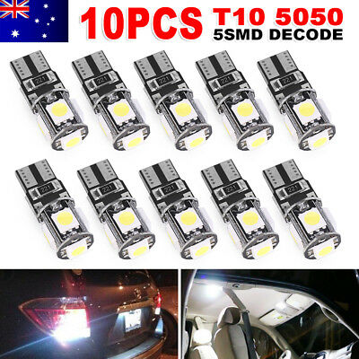 10x CANBUS T10 Wedge 5SMD Parker Side Light WHITE LED Bulbs W5W 194 168 131