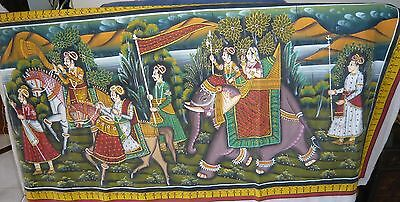 Vintage Design Handpainted Mughal Emperor Procession On Silk Persian Style India