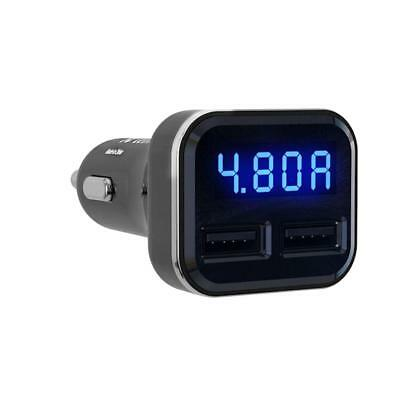 Dual USB Car Cigarette Charger with LED Display Volt Amp Meter DC 4.8A 5V BT