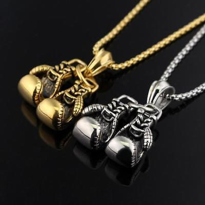 Fashion Men Boy Sweater Chain Boxing Gloves Pendant Necklace Jewelry Gift New FI