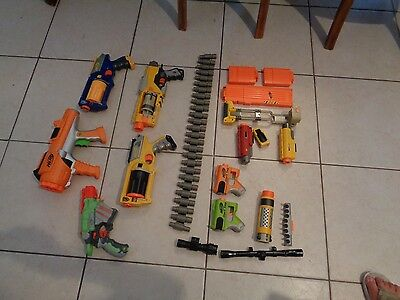 LARGE lot of Nerf N Strike lot with 7 Guns,Ammo Clips,plus accessories LOOK