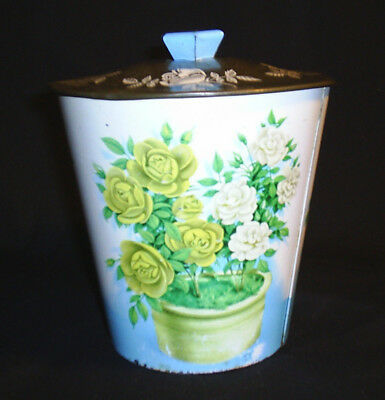 Metal Tin Can Floral With Cover Made in England Vintage