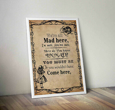 Alice in wonderland poster print wall art mad hatter quote movie tea time slogan
