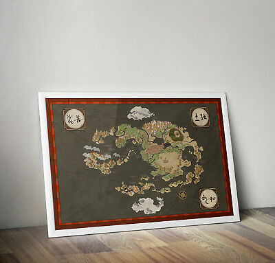 Avatar the last airbender map, print, poster, prints, posters, wallart, bedroom