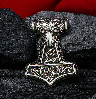 925 Silver Handmade THORS HAMMER Pendant THOR Necklace Viking Mjolnir Norse
