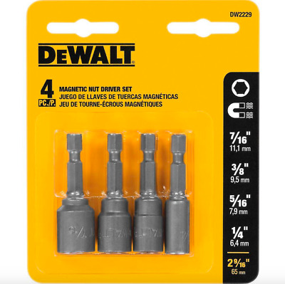Dewalt Power Drill Nut Driver Set 4 Pack Magnetic Hex Shank Drivers Attachment