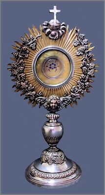 ANTIQUE MONSTRANCE RELIC RELIQUARY EX PRAESEPIO D.N. JESUS CHRIST 19th.C .