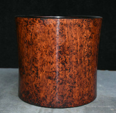 7 Old Chinese Palace Huanghuali Wood Hand Carved Round Brush Pot