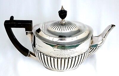 Sterling Silver Trophy Teapot. Wiltshire Agricultural Assn Champion Horse 1904.