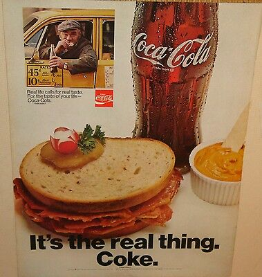 Coke the real thing 1970 full page magazine ad 10 x 13 Coca-cola sandwich