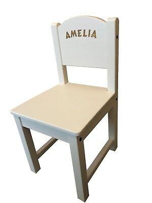 Personalised Childrens Kids Ikea White Wooden Chair Engraved