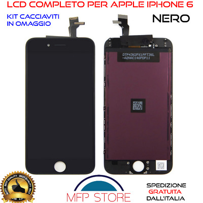 DISPLAY Schermo IPHONE 6 NERO X Apple TOUCH SCREEN LCD RETINA FRAME VETRO 6G