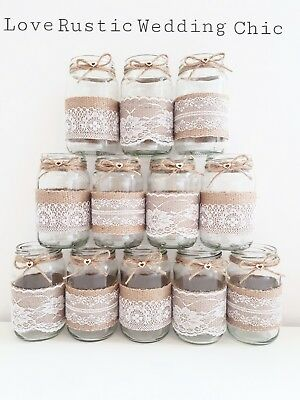12 wedding jars glass centrepiece  vase tealight rustic mixed  lace hessian NEW