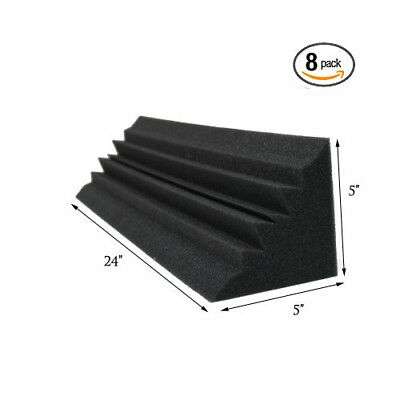 (8 Pack) 5 x 5 x 24 Inches Acoustic Wedge Studio Soundproofing Foam Bass Trap
