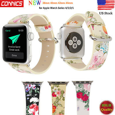 US Floral Flower Leather Strap Wrist Band 38mm 42mm For Apple Watch Series 5-4-3
