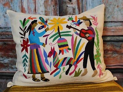 #3 Otomi Pillow Cover Hand Embroidered Mexican Folk Art Peasants & Animals Boho