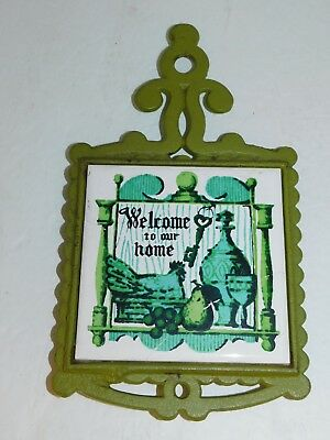 Cast Iron Trivet Green Welcome To Our Home Kitchen Wall Decor Vintage