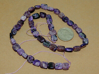 Charoite Drilled squareish Beads from Russia 7-9mm (14173)