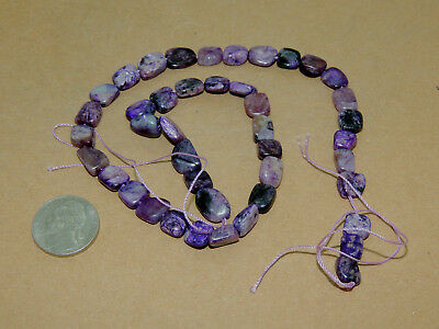 Charoite Drilled squareish Beads from Russia 7-9mm (14177)