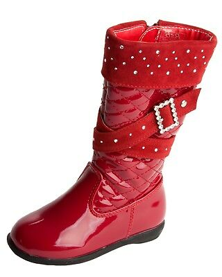 Girls Quilted Red Patent Diamante Knee High Zip Winter Boots Kids Uk Size 5-12