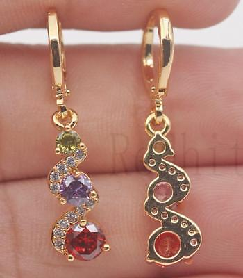 18K Gold Filled -  1.2'' Swirl Round Amethyst Ruby Topaz Party Dangle Earrings