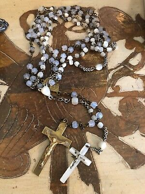 Lot 2 French Antique Vintage Hand Carved MOP & Moonglow Catholic Rosary Beads