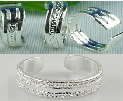 Set 2 Toe Rings 925 Sterling Silver Adjustable To Suit