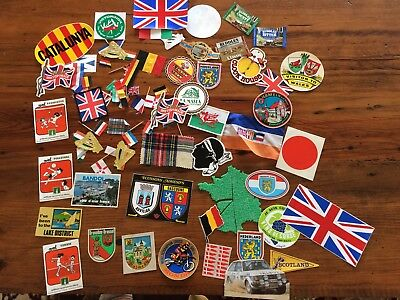 Lot of CB Radio QSL Collection Stickers Labels Flags Tartans Patches 1974-1982