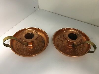 Vintage Coppercraft Guild Hammered Copper Candle Holders Brass Handled Pair