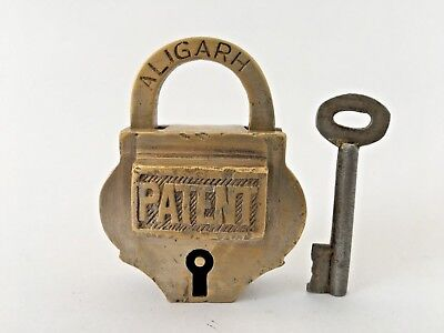 Old Vintage Solid Brass Padlock Big Size With key Collectible Patent Aligard