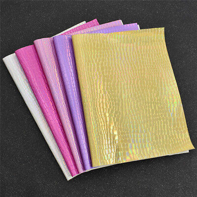A4 Faux Laser Flashing Leatherette Leather Fabric DIY Iridescent Material Sewing