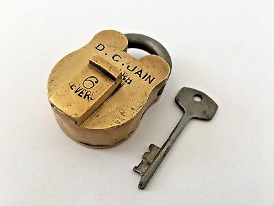 Old Vintage Solid Brass Padlock Big Size With key D C Jain Aligard 6 levers