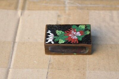 Antique Chinese Cloisonne Enamel floral brass match box