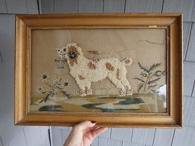Antique 19c Silk Embroidery Sampler Tapestry Dog Carrying Basket