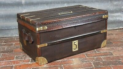 Stunning Antique Leather & Canvas Tooled Cabin Trunk