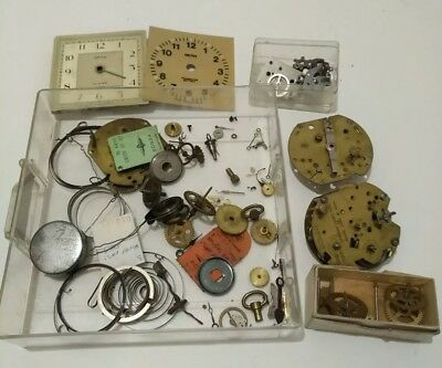 Job Lot of Vintage Smiths Clock Parts For Spares or Repair inc. Alarm