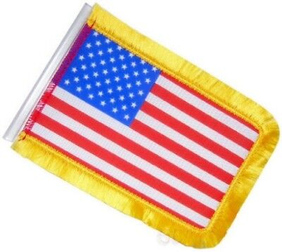 """United States Antenna Flag w Gold Trip for Biker Motorcycle Car Truck 4"""" x  6"""""""