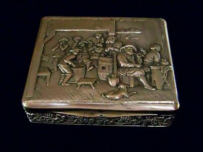 Ornate Antique 800 Silver Box Bar Tavern Scene Relief