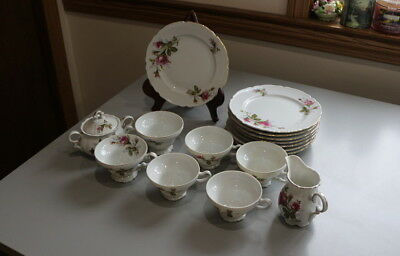 Antique Japan 17 Pc Small China Tea Set White With Red Rose Flowers